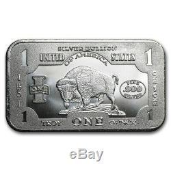 1 Troy oz. 999 Fine Silver Bullion Bar American Bison