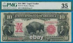 $10. 1901 Fr. 119 Pmg Vf35 Bison Legal Tender Red Seal United States Note