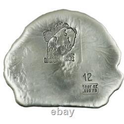 12 Troy Ounce. 999 Fine Silver Hand Poured Bison Bullion Premium Bar Indian Head