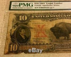1901 $! 0 US NOTE BISON BUFFALO SPEELMAN/WHITE, PMG12 FINE LOW PRICE pp C