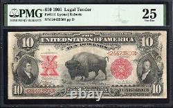 1901 $10 LEGAL TENDER BILL BISON NOTE PMG 25 Fr 114 24423500