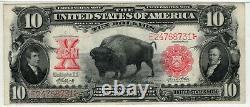 1901 $10 LEGAL TENDER BISON NOTE FR. 121m MULE ELLIOTT WHITE PMG CHOICE VF 35