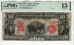 1901 $10 Legal Tender Bison Red Seal Fr. 122 Speelman/white Pmg Choice Fine 15