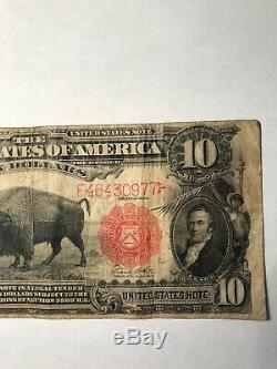 1901 $10 Legal Tender Large Size Note Bison! Fine Note Some Crisp