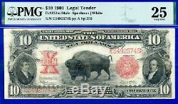 1901 $10 US Note (BISON MULE) PMG 25 Crazy Rare Mule BP 355 # E54925745