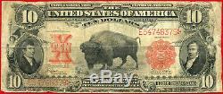 1901 UNITED STATES LEGAL TENDER $10 Fr122 Fine Note Bison