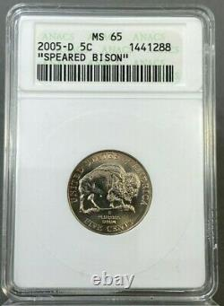 2005-D 5c SPEARED BISON Nickel ANACS MS65 OLD HOLDER NICE COIN