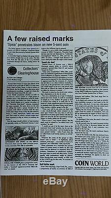 2005 SPEARED BISON BUFFALO NICKEL MINT ERROR CERTIFIED BY Ryman SPEARED