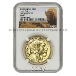 2015 $50 Gold Buffalo NGC MS70 Early Release 1oz Bison American Bullion Coin
