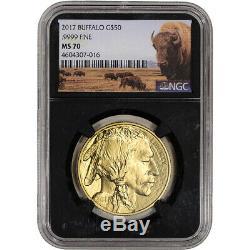 2017 American Gold Buffalo 1 oz $50 NGC MS70 Bison Label Black Core