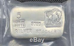 2020 Bison Bullion Silver Stacker Limited Edition 5 Oz. 999 Silver Bar