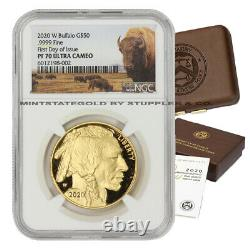2020-W $50 Gold Buffalo NGC PF70UCAM First Day of Issue Proof FDOI Bison with OGP