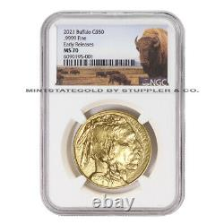 2021 $50 American Gold Buffalo NGC MS70 ER Early Releases 1oz coin withBison Label