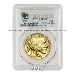 2021 $50 American Gold Buffalo PCGS MS70 First Strike FS 1oz 24KT coin with Bison
