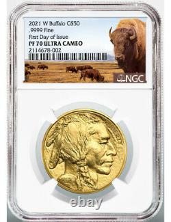 2021-W $50 Proof Gold Buffalo First Day of Issue Bison Label NGC PF70 Ultra Cam