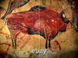 24 x 18 Prehistoric Colorful Art Bison Mural Ceramic Backsplash Bath Tile #2168