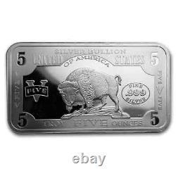 5 oz Silver Bar 1901 $10 Bison SKU#186870