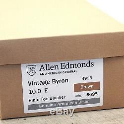 $695 Allen Edmonds AMERICAN BISON 10 E Wide includes new Brass Knob Trees Bags