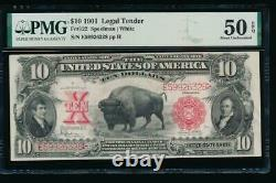 AC Fr 122 1901 $10 Legal Tender PMG 50 EPQ. BISON