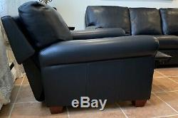 American Leather Savoy Sofa & Recliner Chair, Black Bison, Walnut Legs, Couch