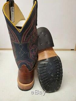 Anderson Bean 4609 Mike Tyson Bison, Navy Bull Dozer Steel Toe Western Boots