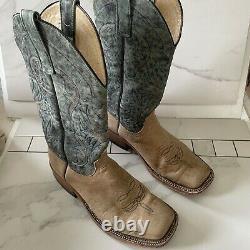 Anderson Bean Boots S1113 Distressed American Bison Leather Aqua Cowboy Men 9 D
