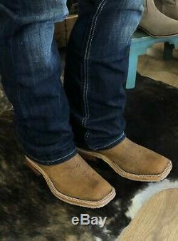 Anderson Bean Mens Natural Brahman Bison& Bryony Mad Dog Square Toe Boots 323448