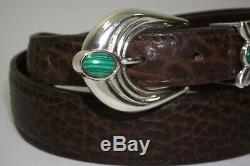 Andreas Beckmann Sterling Silver. 925 Malachite Buckle Set Chacon Bison Belt 38