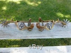 Antique Bronze Buffalo Head North And Judd Cowboy Cowgirl Horse Spurs Bison