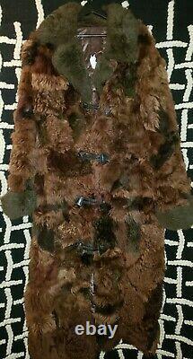 Antique RARE Buffalo Bison Hide Long Fur Coat Men's XL Horn Buttons