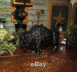 Antique Vtg Art Smithy Cast Iron Buffalo Bison Penny Bank Father Day Gift
