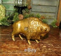Antique Vtg Original A C Williams Cast Iron Buffalo Bison Still Penny Bank NR