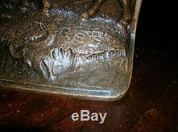 Antique buffalo bison Western bookends solid bronze by Judd, exc. Condition