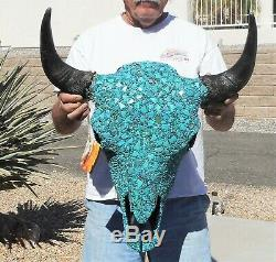Authentic Buffalo/Bison Skull covered in Natural Blue Turquoise Western Decor