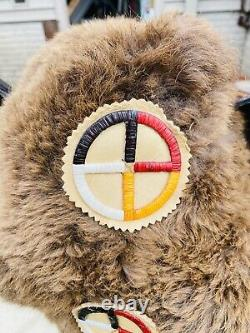 Authentic Native American Plains Bison Beaded Quilled War Bonnet Headdress