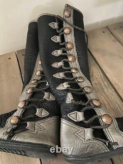 Bald Mountain Black Renaissance Bison Leather Womens Moccasin Boots- Size 11