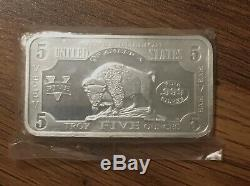 Bison Buffalo 5 oz Silver Bar. 999