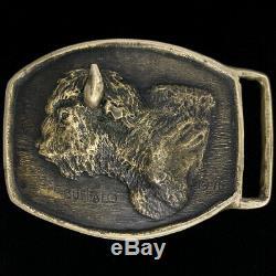 Bison Buffalo Art Handmade Sculpture Western Bronze 1970s Vintage Belt Buckle