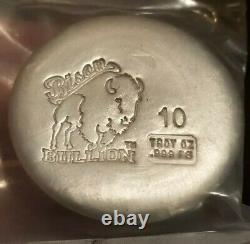 Bison Bullion 10 Troy Oz Silver Round. 999 Fine Silver
