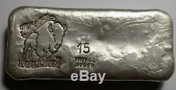 Bison Bullion 15 troy oz. 999 fine silver poured bar