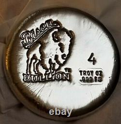 Bison Bullion 4 Troy Oz Silver Round. 999 Fine Silver Silverhound's Favorite