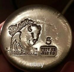 Bison Bullion 5 troy Ounce Round. 999 Fine Silver Bullion