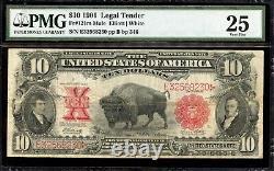Bison Fr. 121m $10 1901 Legal Tender Mule PMG 25