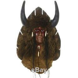 Bison Hunter Spirit Mask Ltd Edition Black Wolf Wall Display