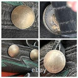 Bison Leather Black LARP Boots 9 Button Peso Coins Bald Mountain Vintage Awesome