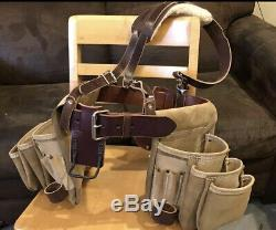 Bison Leather Tool Belt with Suspenders. Handmade. Pro Carpenters Nail Bags