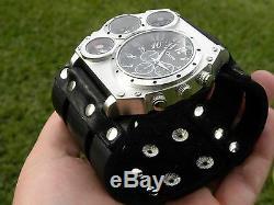 Bison Leather dual time compass wristwatch biker bracelet Men Watch Steam punk
