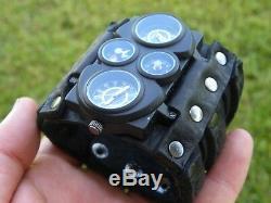 Bison Leather wristband cuff bracelet Men`s biker Watch Steam punk dual unique