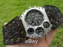 Bison and Alligator Leather dual time wristwatch biker Men cuff Watch bracelet