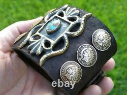 Bison leather cuff Bracelet Indian Head coin nice gift motorcycle biker unique